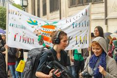 Paris. Demonstration of vegetarians. Stock Photos