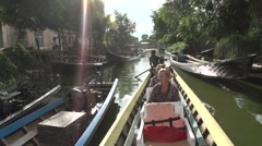 Nyaung Shwe, Cruising waterway with tourists Stock Footage