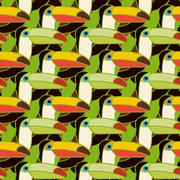 Toucans bird colorful seamless pattern Stock Illustration