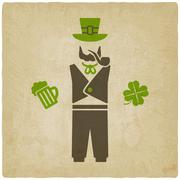 St. Patrick's man with beer and shamrock - stock illustration