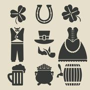 St. Patricks Day symbols set - stock illustration