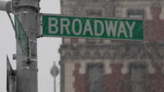 BROADWAY SIGN New York City Snow Storm Juno Blizzard, Winter Resilience Stock Footage