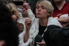 Stock Photo of Emotional speech of the ecologist Evgenia Chirikova