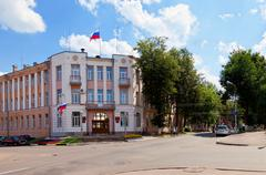 View on the city administration building in Borovichi, Russia Stock Photos