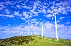 wind turbines in eolic park - stock photo