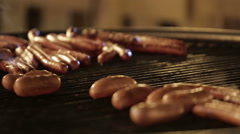 Sausage baked on coal Stock Footage