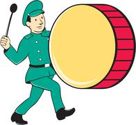 Marching Band Drummer Beating Drum - stock illustration