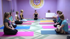 People disperse after yoga Stock Footage