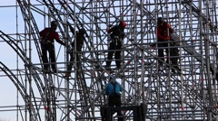 Dismantling scaffolding. Working at height 2 Stock Footage