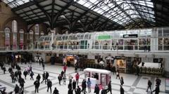 London Liverpool Street Mainline Railway Station 16 Stock Footage