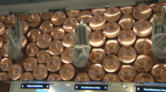 Nine Mudras at the Indira Gandhi Airport in Delhi, India Stock Footage