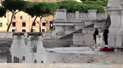 Tomb of the Unknown Soldier with an eternal flame at the Vittoriano. Stock Footage