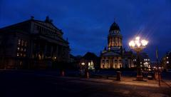 Timelapse Berlin, Gendarmenmarkt Night to Blue Hour Stock Footage