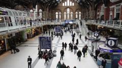 London Liverpool Street Mainline Railway Station 26 Stock Footage
