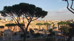 Roman Forum & Trajan's Forum across Via dei Fori Imperiali. Stock Footage