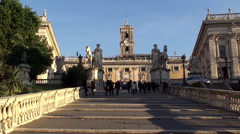 Cordonata access to the Campidoglio square. Rome Stock Footage