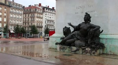 Lyon statue of Louis XIV, King of France Stock Footage