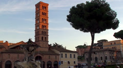 """Basilica of Saint Mary in Cosmedin ( home to the """"Mouth of Truth"""" ) - stock footage"""