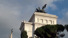 Quadriga dell'Unità on the summit of Vittoriano. Rome - stock footage