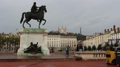 Lyon statue of Louis XIV, King of France 4 Stock Footage