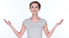 Happy excited casual woman with welcome gesture Stock Footage