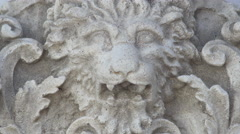 Lion head carved into stone, Centered, 4K Stock Footage