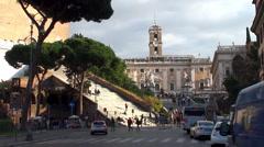 View of the Capitoline hill from Via del Teatro di Marcello. Rome Stock Footage