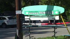 Generic paddle-board rental sign Stock Footage