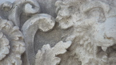 Lion head carved into stone, Frame right, 4K Stock Footage