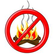 Campfire Vector inside red banned logo - stock illustration