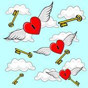 Heart Flying with Keys - stock illustration