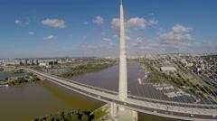 Aerial flying over Pupin bridge in  Belgrade.mp4 Stock Footage