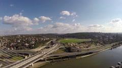 Aerial Pupin bridge Belgrade.mp4 Stock Footage