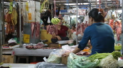 Meat market Cambodia Third world - stock footage
