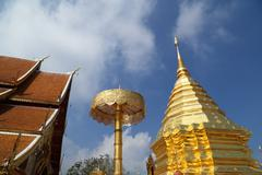 Wat Phrathat Doi Suthep temple in Chiang Mai province - stock photo