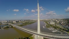 Aerial view Pupin bridge in  Belgrade.mp4 Stock Footage