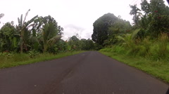 Driving down Jungle Road on Micronesian Island of Pohnpei Stock Footage