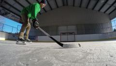 Super slow motion of hockey wristshot Stock Footage