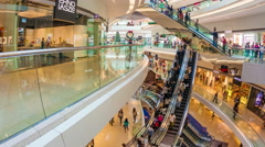 4k hyperlapse video of people shopping in a shopping mall in Hong Kong Stock Footage