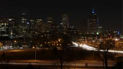 Denver Skyline and Traffic, Wide Shot Stock Footage
