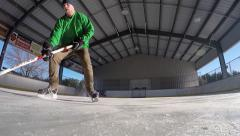 Super slow motion amazing hockey deke Stock Footage
