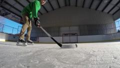 Hockey wrist shot Stock Footage