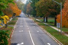 Fall colours on a tree lined street - stock photo