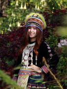 Stock Photo of Traditionally dressed Mhong hill tribe woman in the garden