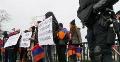 Armenian diaspora protesting - stock footage