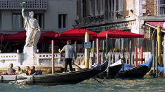 Gondoliers Take Their Gondolas Through the Grand Canal 4K Stock Video Footage Stock Footage