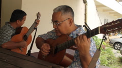 Local Men Playing Guitar on Micronesian Island of Pohnpei Stock Footage