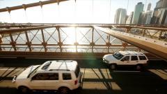 traffic crossing bridge. city urban background - stock footage