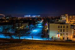 View west from Federal Hill at night, in Baltimore, Maryland. Stock Photos