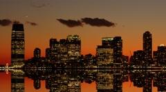 skyline cityscape at dusk sky. time lapse of city panorama. night lights - stock footage